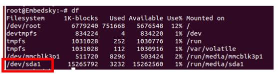 USB HOST接上设备,如U盘,linux串口调试下命令行输入df即可查看设备是否已挂载